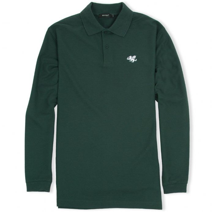 Senlak Long Sleeved White Dragon Polo Shirt - Forest Green